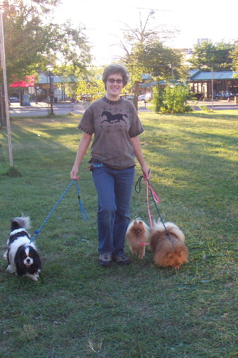 Julia walking dogs