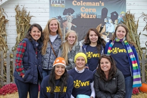 "PAWS volunteers at the AAAH ""Corn Dog"" Maze charity event"