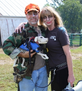 Hospital Director David Caddell (L) and Stiggy's Dogs founder Jennifer Petre (R) at the 2015 Zombie Charity Event
