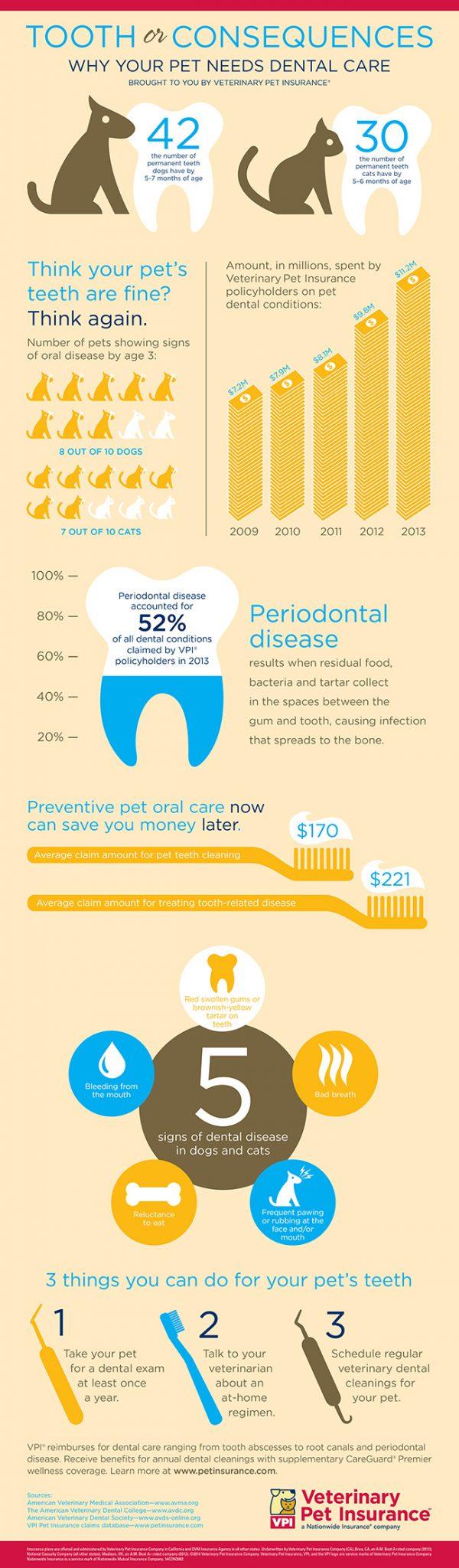 Chart showing pet dental care statistics