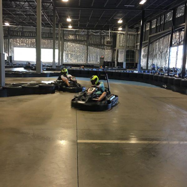 go-kart racing on the track